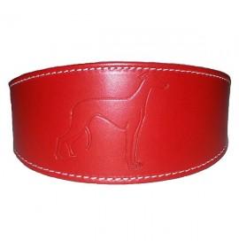 Collares para perros galgos de cuero color rojo