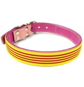 Collar piel vaquetilla rosa palo bandera cataluña