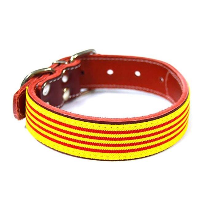 Collar piel vaquetilla Rojo Bandera Cataluña