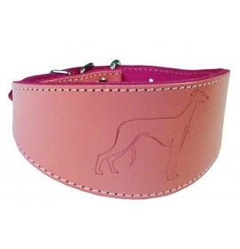 Collares para galgos de cuero color rosa