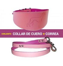 Conjunto para galgo de cuero color rosa