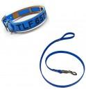Collar y correa Antiparasitario Biothane Azul grabado