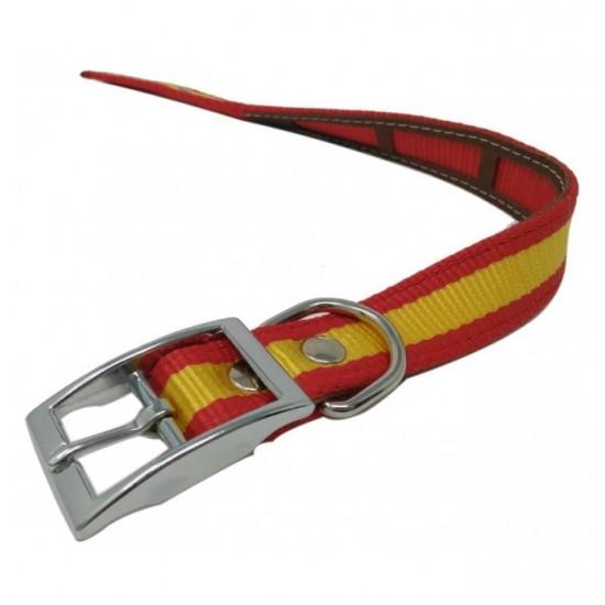 Collar y correa para perro biothane 2,5 hebilla rulo rojo grabado