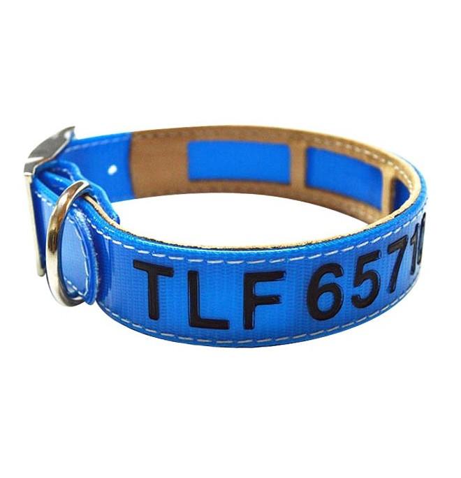 Collar Antiparasitario Grabado Biothane Azul