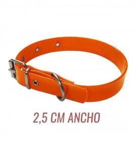 Collar para perro biothane 2,5 hebilla rulo naranja