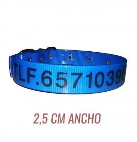 Collar para perro biothane 2,5 hebilla rulo personalizado azul