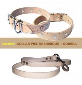Conjunto para perros piel de ubrique natural