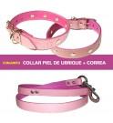 Conjunto para perros Piel Ubrique Rosa Palo