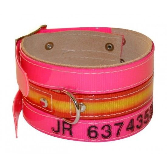 Collar antiparasitario para perro piel vaquetilla personalizado rosa