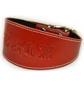 Collares para galgos personalizados cuero rojo