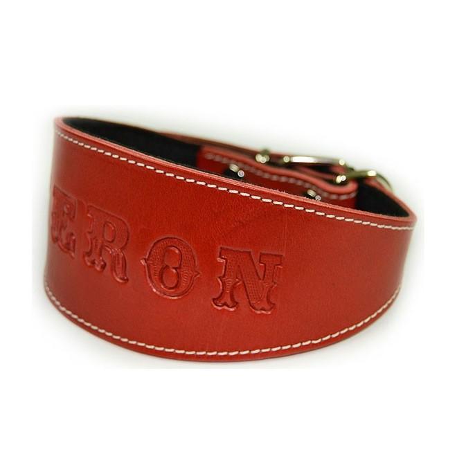 Collar para galgo personalizado cuero Rojo