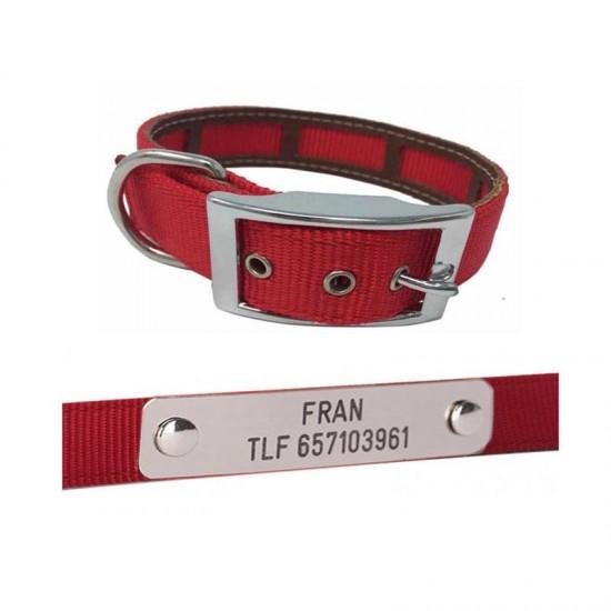 Collar para perro de rehala 10 cm cuatro tiras 1 grabado