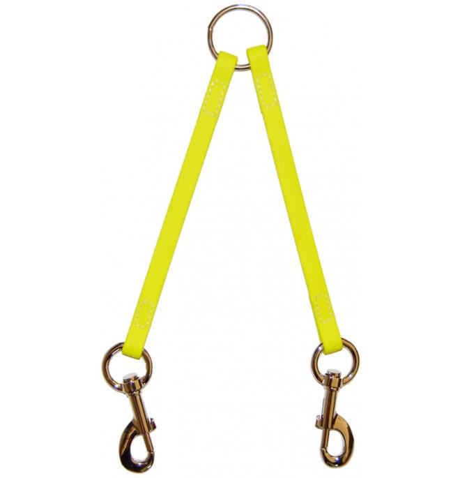 Correa amarre varios perros biothane beta amarillo fluor 527