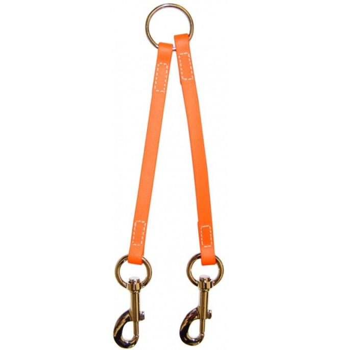 Correa amarre varios perros biothane beta naranja fluor 527