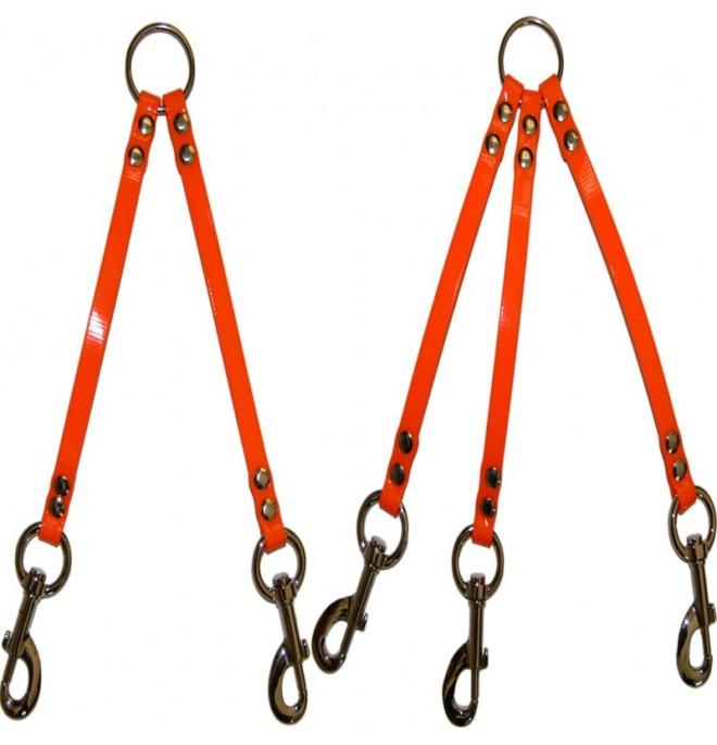 Correa amarre varios perros biothane naranja