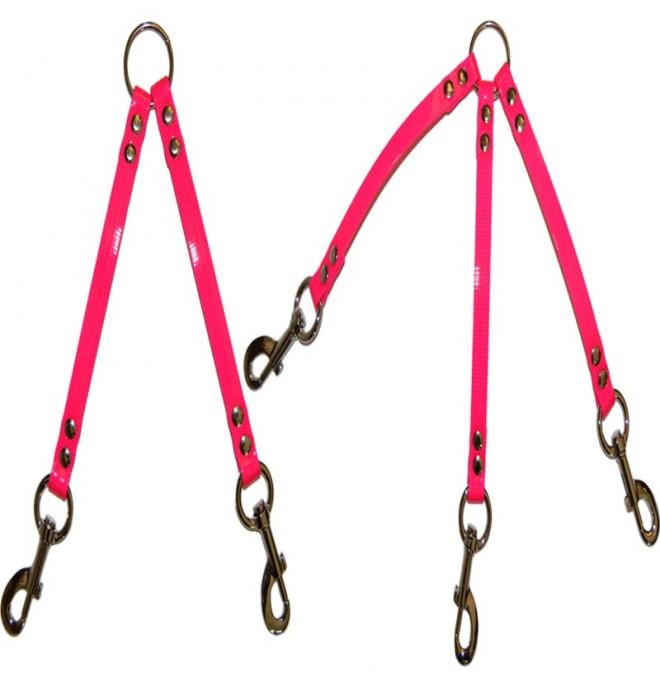 Correa amarre varios perros biothane rosa