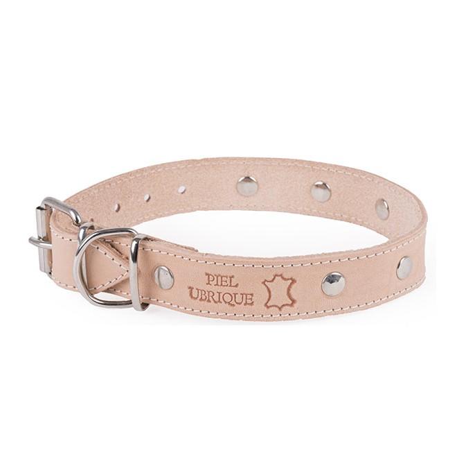 Collar de Piel Ubrique para perro natural