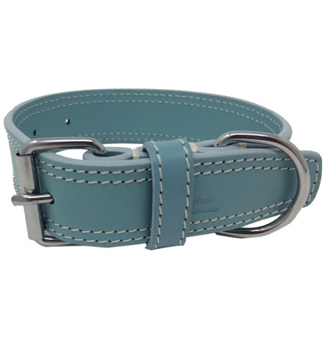 Collares para perros piel doble azul