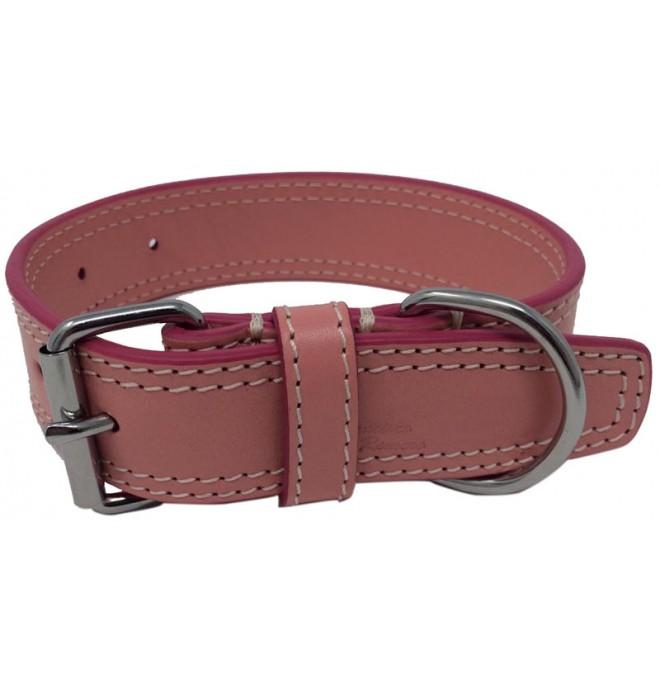 Collares para perros piel doble rosa