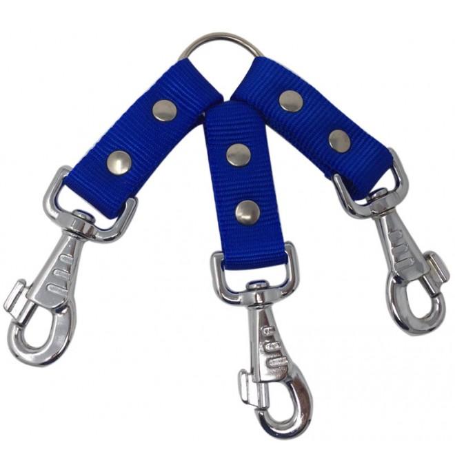 Amarre para perro triple nylon color azul