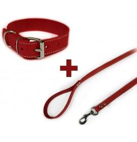Conjunto collar y correa de piel vaquetilla rojo