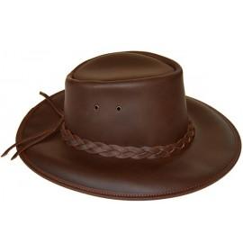 Sombrero caza unisex de piel color marron
