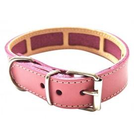 Collar antiparasitario para perro piel vaquetilla rosa