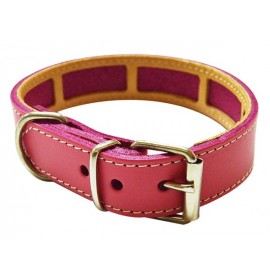 Collar antiparasitario para perro piel vaquetilla fucsia