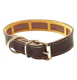Collar antiparasitario para perro piel vaquetilla marron