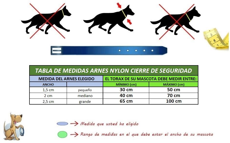 medidas-arnes-perro-nylon-cierre-segurid