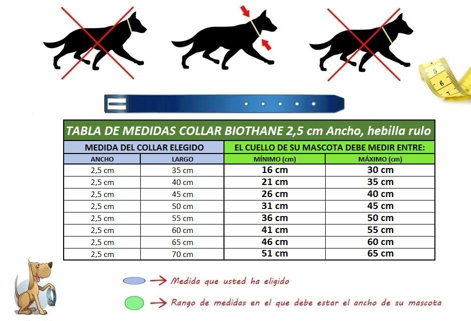 medidas collar perro biothane dos con cinco rulo