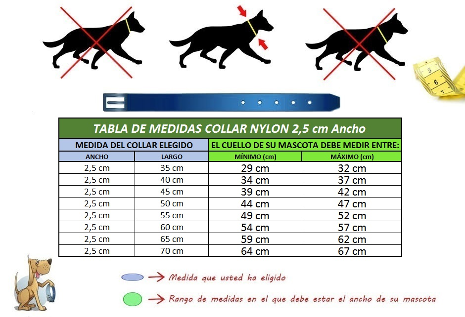 tabla medida collar perro nylon