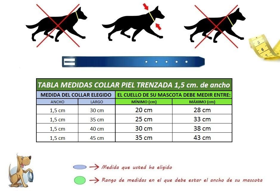 medidas collar para perro piel trenzada