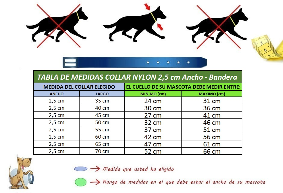 medidas collar para perro nylon bandera