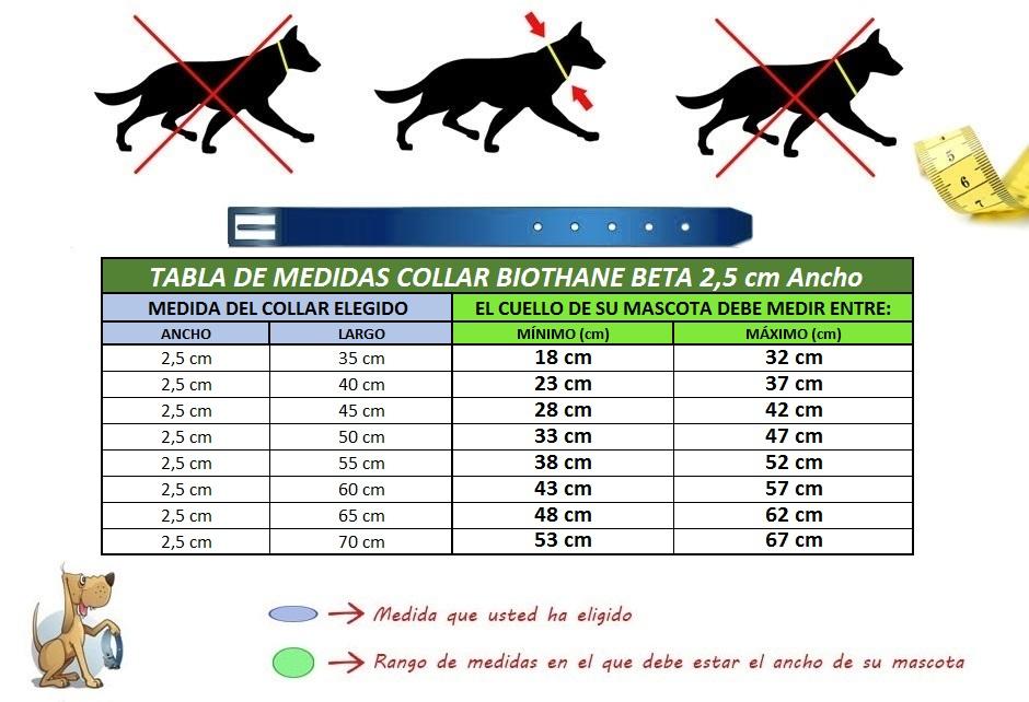 medidas collar perro biothane beta