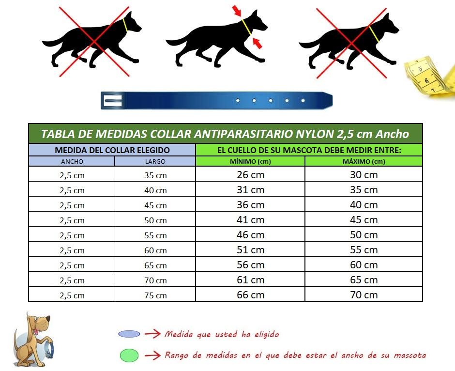 medida cuello perro collar nylon funda